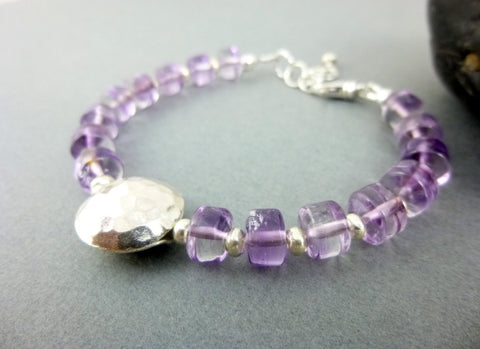 Amethyst Third Eye Chakra Bracelet, Hammered Silver - Earth Energy Gemstones