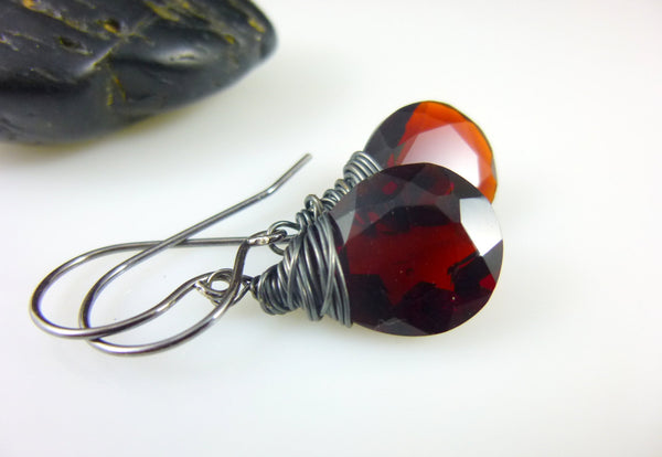 Red Quartz Briolette Chakra Earrings, Sterling Silver - Earth Energy Gemstones