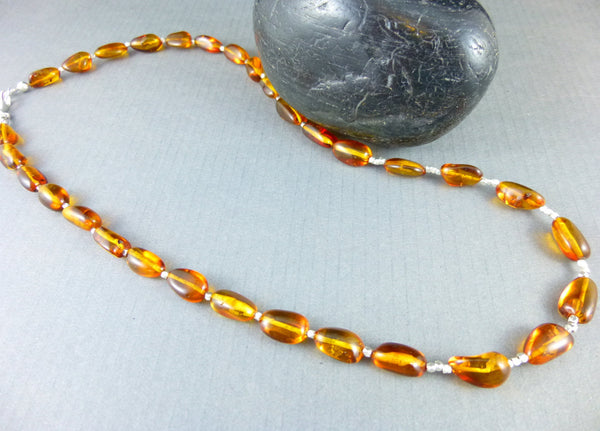 Baltic Amber Chakra Necklace, Solar Plexus Chakra - Earth Energy Gemstones