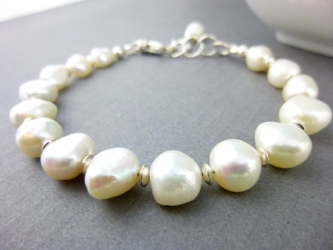 Baroque Pearl Chakra Bracelet, Sterling Silver, Third Eye Chakra - Earth Energy Gemstones