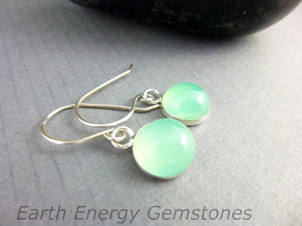 Chalcedony Chakra Earrings, Sterling Silver - Earth Energy Gemstones