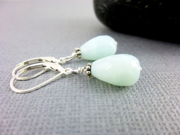 Amazonite Sterling Silver Chakra Earrings, Throat and Heart Chakras - Earth Energy Gemstones
