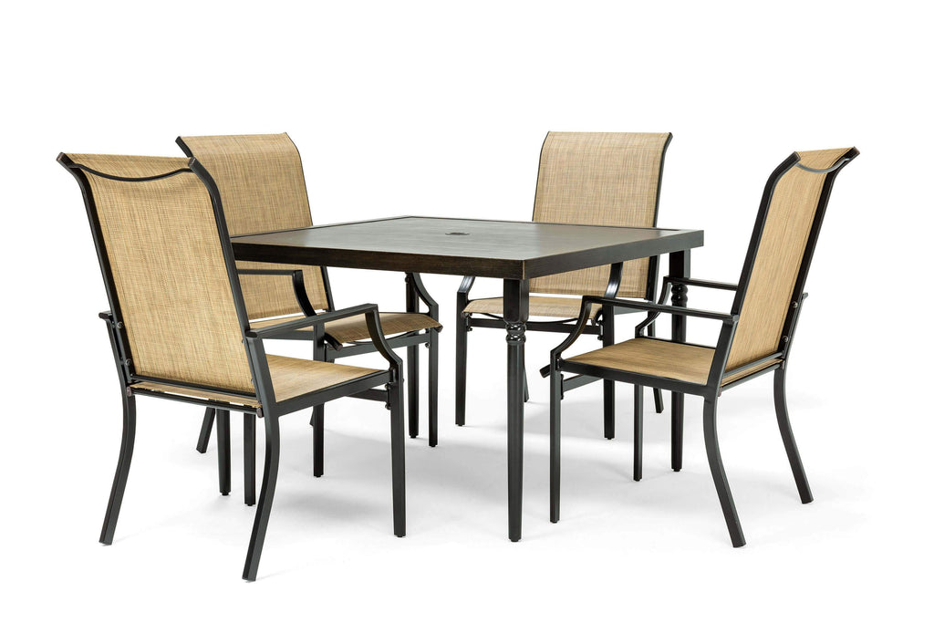 Addyson 5pc Sling Dining Set (Square Dining Table and 4 Stationary Chairs)