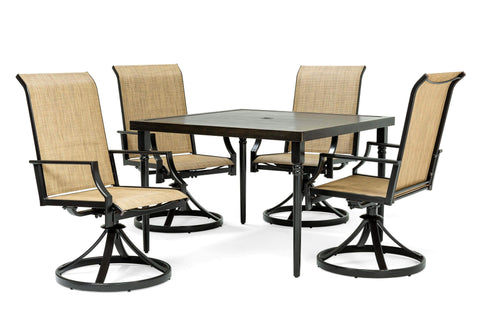 Addyson 5pc Sling Dining Set (Square Dining Table and 4 Swivel Chairs)