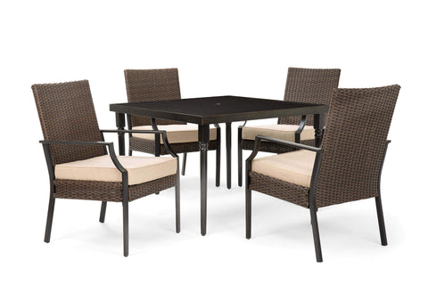 Addyson 5pc Cushioned Dining Set (Square Dining Table and 4 Stationary Chairs)