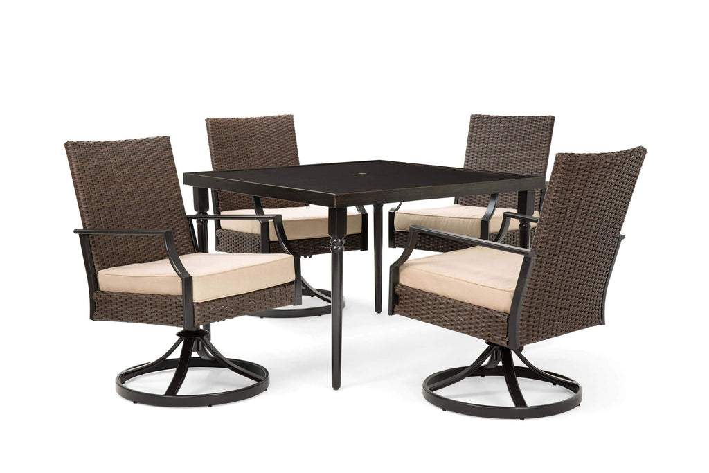 Addyson 5pc Cushioned Dining Set (Square Dining Table and 4 Swivel Chairs)