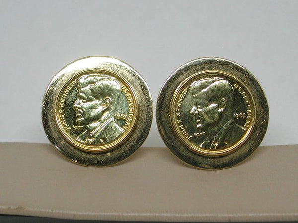 Vintage Gold Cuff-links  - JFK 1963 - 18 K Gold