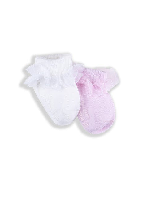 INFANT GIRLS RUFFLE EDGE DRESS SOCKS (2 PACK)