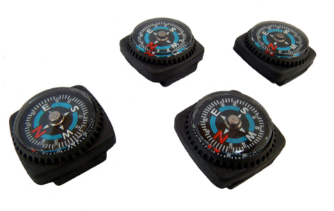 Type-III 4pc Liquid Filled Slip-on Compass Set for Watchband or Paracord Bracelets