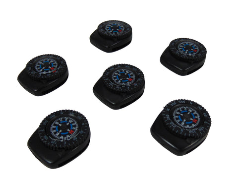 Type-III 6pc Liquid Filled Clip-On Compass Set for Watchband or Paracord Bracelets (2nd Gen)