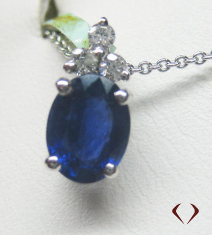 1.5CTW Sapphire and Diamond Pendant In 14KT White Gold - IDJ009104