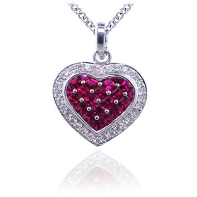 2.70CTW Diamond and Ruby Heart Shaped Pendant In 18KT White Gold - IDJ009108