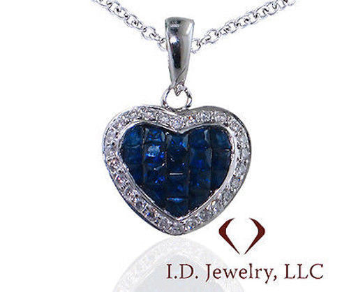 Round Cut Diamond And Sapphire Pendant in 18KT White Gold - IDJ009113