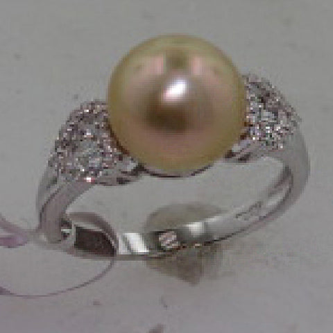 0.27CTW Diamond and South Sea Gold Pearl Ring In 18KT White Gold - IDJ009382