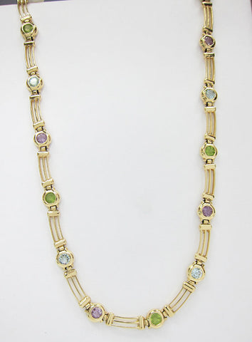 14K Yellow Gold Necklace with Round Semi Precious Colored Stones -IDJ010700