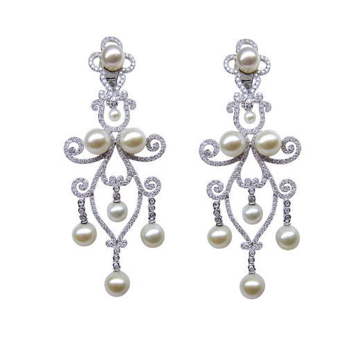 3.96CT Round Cut Diamond and Pearl Earrings 18K White Gold - IDJ011380