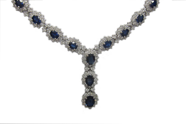 16.35CT F SI1 Diamond and Sapphire Necklace in 18K White Gold -IDJ011392
