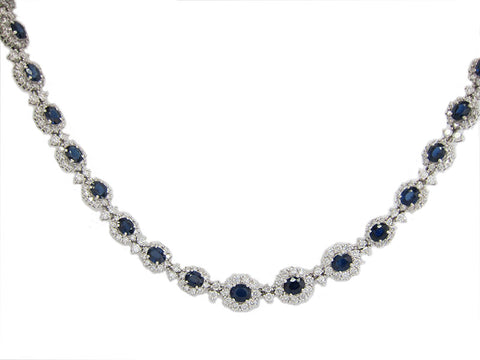 24.95CT F SI1 Diamond and Sapphire Necklace in 18K White Gold - IDJ011419