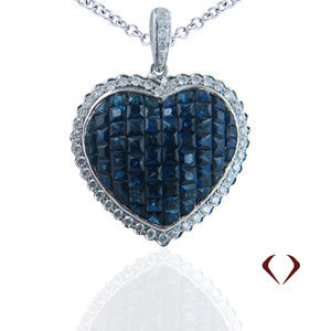 3.90CTW Sapphire & Diamond Heart Pendant F SI In 18K White Gold - IDJ011551
