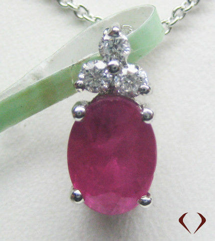1.50CT Ruby and Diamond Pendant F SI 14K -IDJ011561