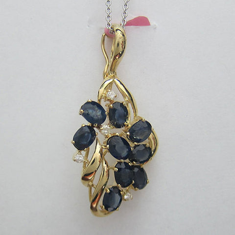 Blue and White Sapphire Pendant In 14K Yellow Gold- IDJ012572