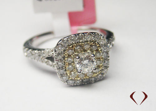 1.00CT 14KT White And Yellow Diamond Fashion Ring Halo With Split - IDJ013194