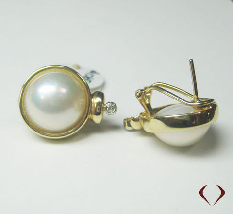 0.07CT Mabe Pearl and Diamond Earrings F SI 14K Yellow Gold -IDJ013363