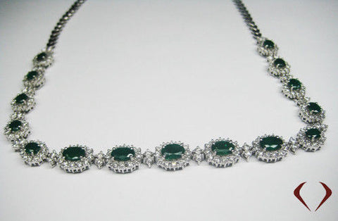 11.90CT Emerald and Diamond Halfway Necklace In 18K White Gold - IDJ013512