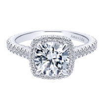 0.76ct G-H SI Round Cut Diamond In Halo Setting 18K White Gold -IDJ014690
