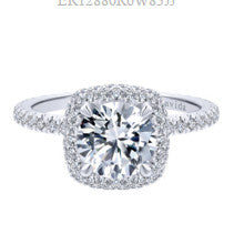 0.74CT Cushion Halo Diamond Engagement Ring Setting In 18KT White Gold -IDJ014694