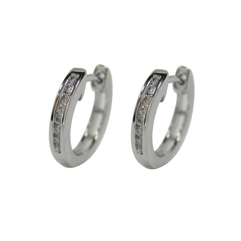 0.10 CT G H SI 14K White Gold Diamond Hoop Earrings - SKE3325-10