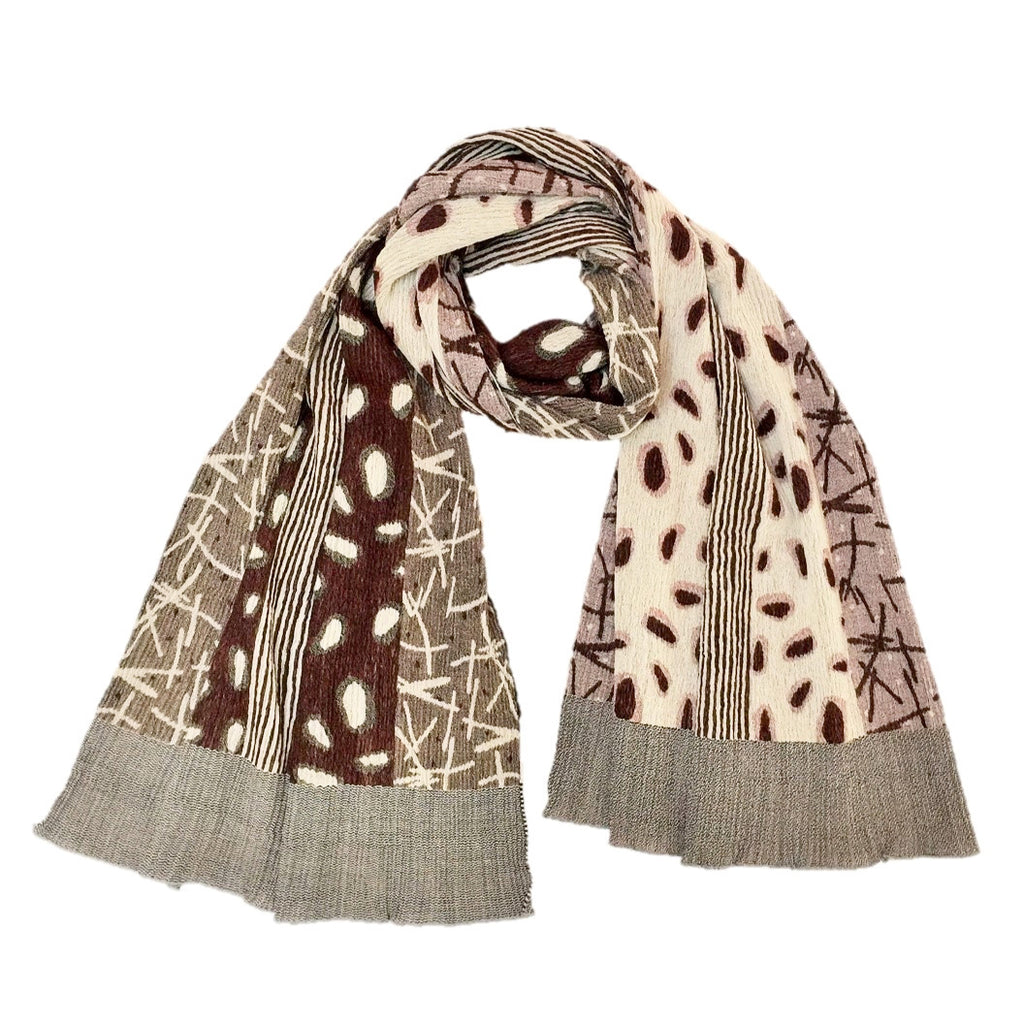 "NUNO Shawl: ""Watayuki"" (Brown/Beige)"