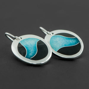 Oval Enamel Earrings with Turquoise Wave