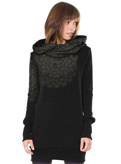 hooded dress women black