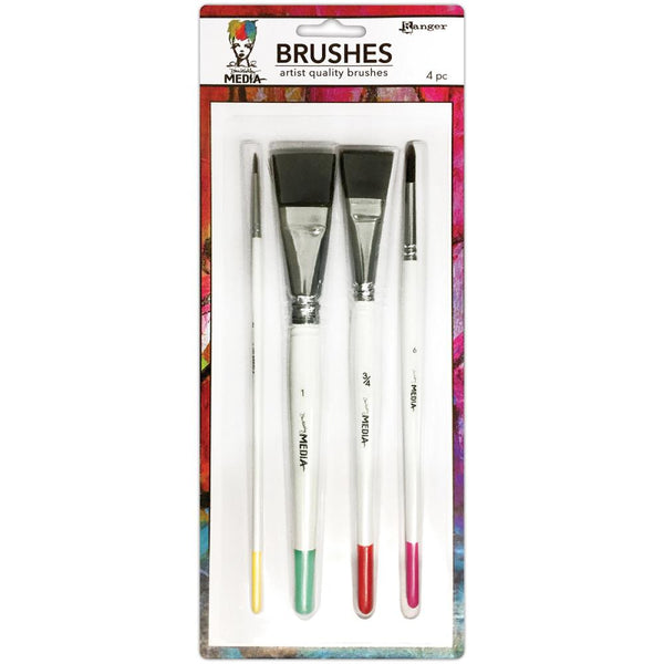 "Dina Wakley Media Brushes 4/Pkg - Round 3, Fine Point 6, Flat .75"" & 1"" - Artified Shop"