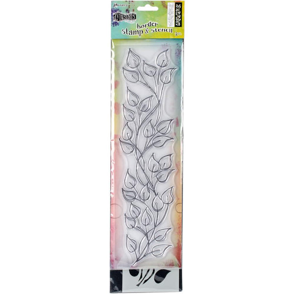 "Dyan Reaveley's Dylusions Clear Stamp & Stencil Set 12"" - Leaf - Artified Shop"