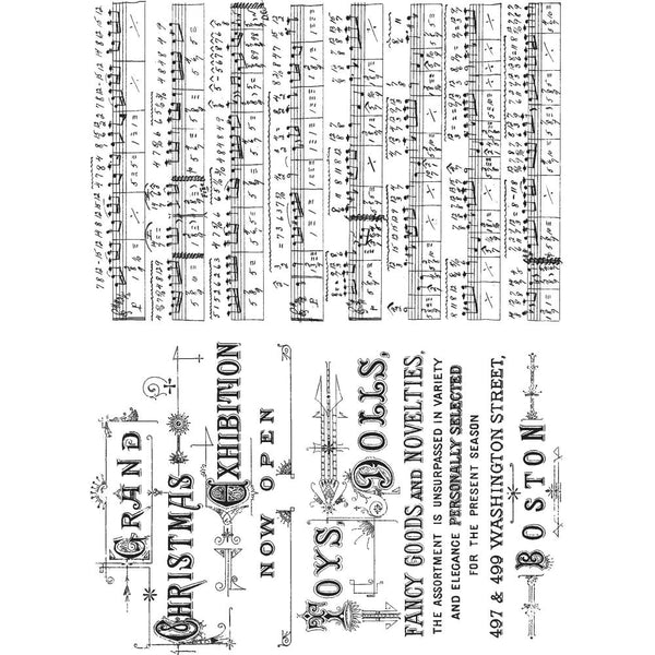 "Music & Advert Tim Holtz Cling Stamps 7""X8.5"" - Artified Shop"
