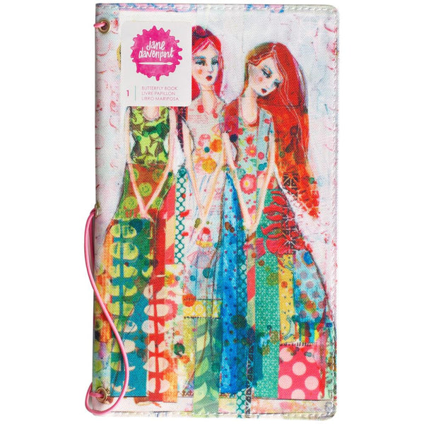 "Jane Davenport Butterfly Effect Canvas Cover Book 5""x9"" - Sisters W/2 Elastics & 4 Paper Inserts - Artified Shop"