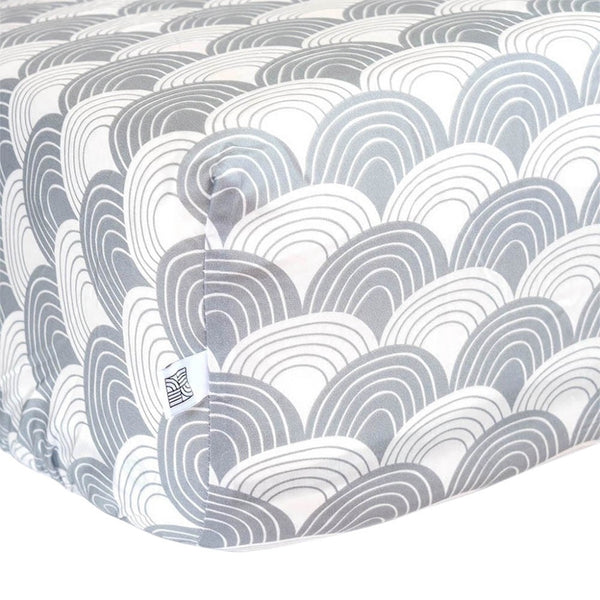 Swedish Linens Rainbows Fitted Sheet - Tranquil Grey - 1