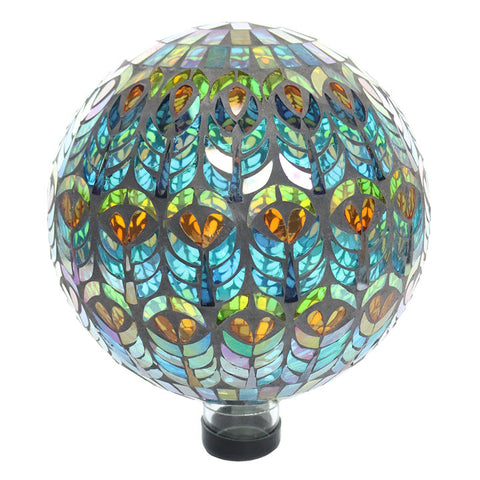 Gazing Ball-Peacock Feather Mosaic - Ship to Store - Pickup In Store Only