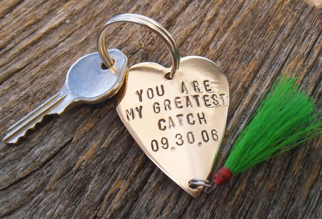Personalized Keychain Boyfriend Birthday Fly Fishing Lure Key chain Husband Personal Accessories Mens Gift Christmas Keyring Valentine's Day