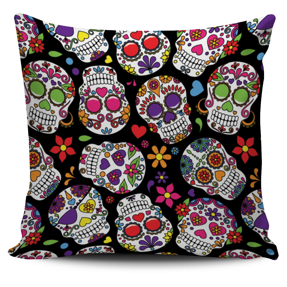 Multi Colored Skull Pillow Cover