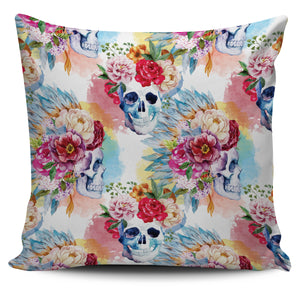 Pink Flower Skull Pillow Cover