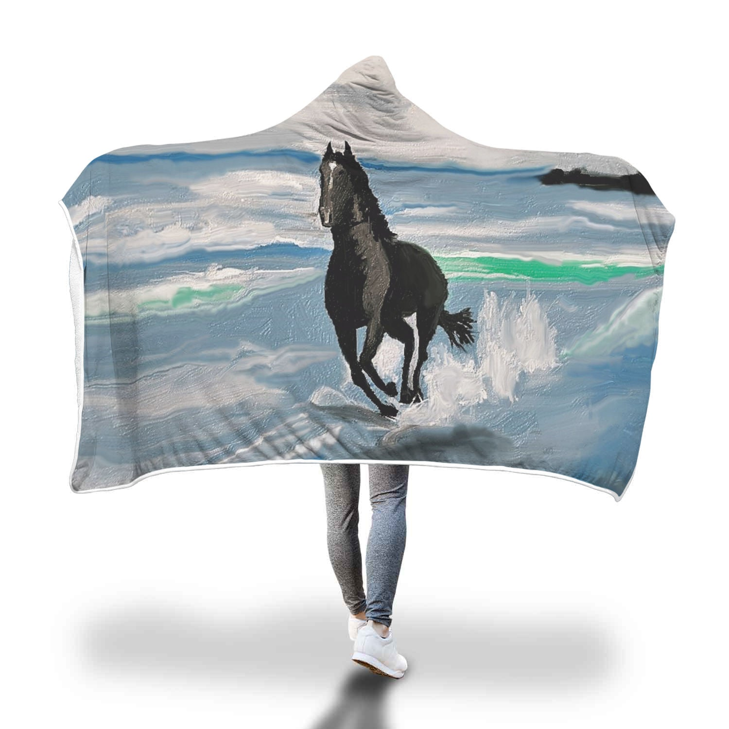 Seascape Horse Hooded Blanket