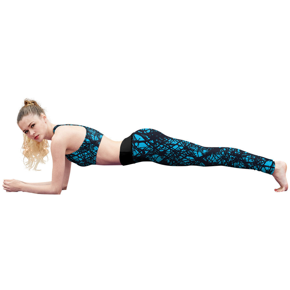 Blue Web Fitness Leggings