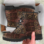 Brown Buckled Steampunk Boots
