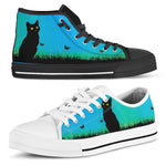 Black Cat Blue Sky Canvas Shoes (Women's)