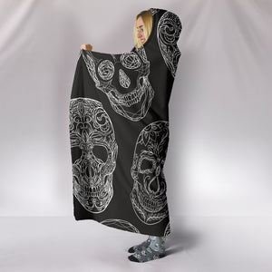 Black Sugar Skull Hooded Blanket