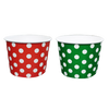 2 Design Combo - 16 OZ. PAPER YOGURT CUPS, POLKA DOT CHRISTMAS TREE GREEN & CHRISTMAS RED - 500PCS PER COLOR - CarryOut Supplies