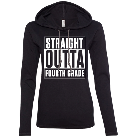 Straight Outta Fourth Grade    LS T-Shirt Hoodie - TeachersLoungeShop - 1